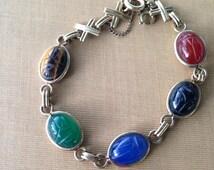 Vintage AMCO Scarab Beetle 12k Gold Filled Chalcedony Bracelet