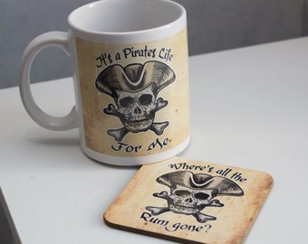 Pirate mug, pirate coaster, pirate gift, nautical theme