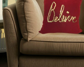 Inspirational Throw Pillow with Word BELIEVE in Velvet Fabric for Livingroom or Bedroom in 16x16, 18x18 or 20x20