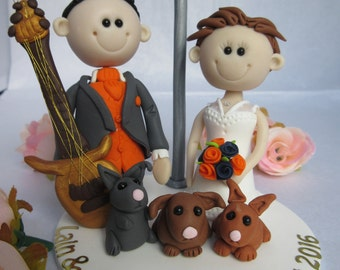 Wedding cake topper -  Custom made Bride & Groom figures Cake Topper - Wedding keepsake