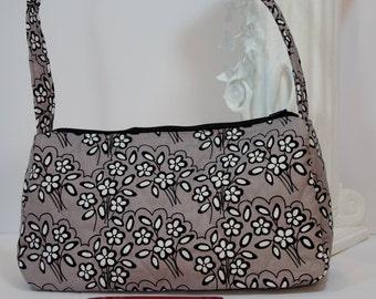 Purse satchel top handle quilted shoulder bag (in charcoal floral 003)