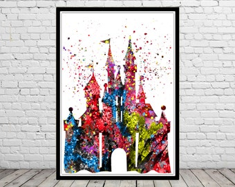 Princess Castle, Watercolor Print, Castle Print, from European fairy tales (204b)