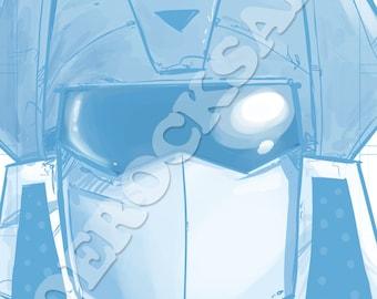 Soundwave Blue Pencil Face Sketch