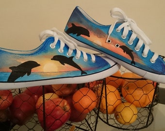 Sunset Dolphins hand painted sneakers.