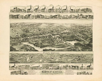 Map of Oxford, Worcester Co., Massachusetts MA.  1891.  Vintage restoration hardware home Deco Style old wall reproduction map print.