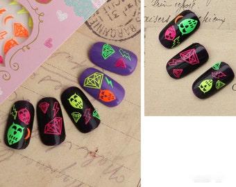 Owl nail sticker ,lightning nails ,  Nail Sticker neon,Nail Art  , Nail deco , nail accessory,nail decoration ,