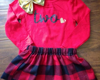 1st 2nd 3rd 4th 5th girl birthday outfit//2nd birthday shirt//Fall birthday outfit//Winter toddler birthday outfit//Plaid birthday outfit