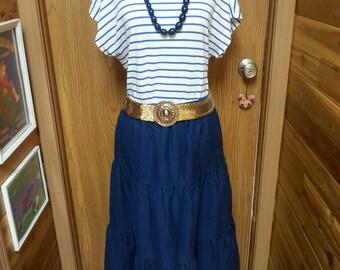 Vintage hippie skirt, vintage skirt. jean like vintage skirt. 1970's skirt