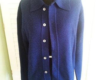 Vintage navy cardigan, vintage cardigan, navy colored cardigan. 1970's cardigan, Size Medium A10