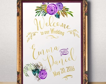 Wedding Sign Printable Purple Wedding Welcome sign Lilac Wedding Sign Welcome to wedding Gold purple floral wedding sign printable idw40