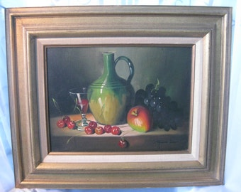 Frank Lean Still Life- Original Oil Painting / Fruit Wine Oil Painting by Frank Lean / Still Life Oil Painting of Fruit and Wine