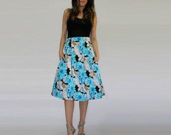 Blue floral skirt / Midi floral skirt / Cotton skirt / Circle Skirt / High waist skirt