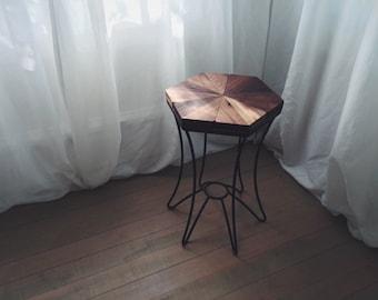Hexagon Walnut Side Table