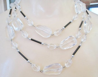 Plastic Clear Beads with Black Accents Necklace