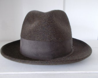 French Vintage Brown Homburg by Flechet,Quality Fur Felt Homburg,Vintage 50s/60s Homburg,Hercule Poirot Hat, LARP,French Hat ,Mens Boho Chic