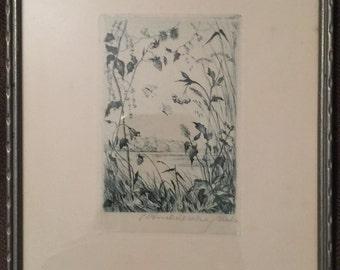 Pen & Ink Drawing of a Bavarian Countryside, Nature Scene , by German Artist Carl Ruckdeschel, Original Frame, Inscribed