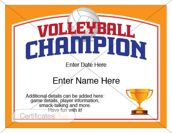 Volleyball Certificate Volleyball award template Volleyball