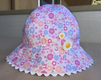 Children's bucket hat, Sun hat, Handmade bucket hat for girl, Outdoorsy hat for kid, Floral sun hat, Floral bucket hat, Sun hat for kids