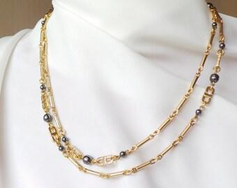 Fine and long necklace - Emanuel Ungaro vintage necklace - chain Golden brass