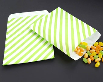 "Paper bag - green paper bag - green stripes - treat bag - goodie bag - candy bag - bakery bag- set of 25 paper bags - 5 1/8"" x 6 3/8"""