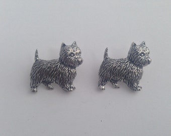 Westie D1  Antiqued Fine English Pewter Cufflinks Handmade In Sheffield