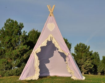 Violet Muslin Kids Teepee, Kids Play Tent, Childrens Play House, Tipi,Kids Room Decor