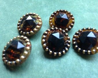 Vintage buttons - 5 beautiful sparkling old collector / glass buttons - with diamond cut