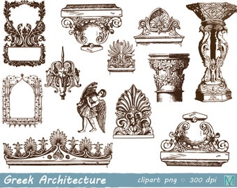 greek architecture clip art images - for Scrapbooking Card Making Cupcake Toppers Paper Crafts - instant download digital file - PNG