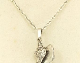 Sterling Silver Nautical Conch Pendant and Sterling Silver Necklace