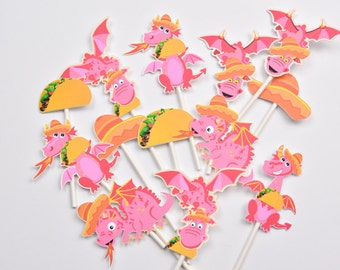 Dragon Taco Cake Toppers, Taco Baby Shower Decoration, Taco Cake Toppers, Mexican Baby Shower Cupcakes, Taco Cupcake, Mexican Cake Toppers