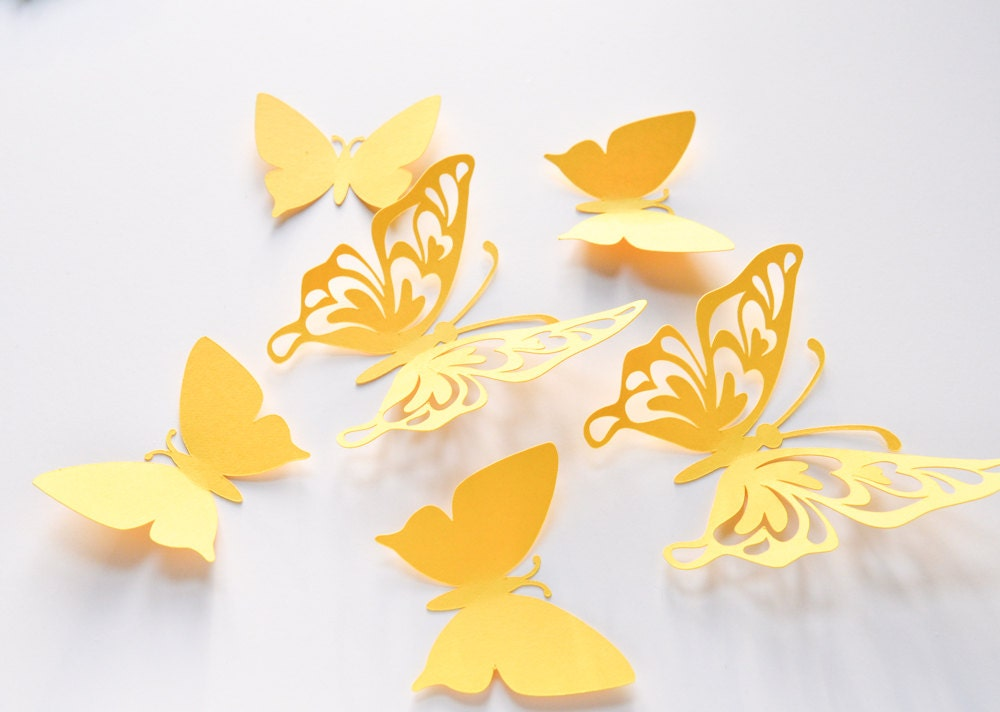 Paper Butterflies Wall Art, Yellow Large Paper Butterflies, 3D Paper ...
