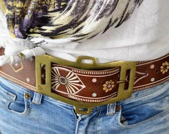 Vintage Leather Belt, Hand Tooled Belt, Hand Painted Belt, Leather Belt, 1970s Leather Belt, Boho Belt