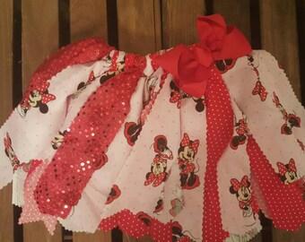 Minnie Mouse fabric tutu, Birthday fabric tutu, Red and White Fabric Tutu, Disney fabric tutu