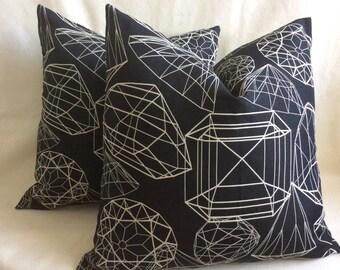 Diamond Print Pillow Cover Set - Black and White - 20x20 Covers - 2pc Set
