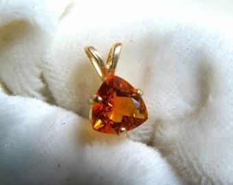 Orange Helenite 14K Gold Pendant - Historic Gemstone
