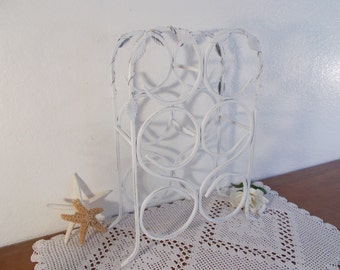 White Wine Rack Ornate Metal Leaf Shabby Chic Rustic Distressed Beach Cottage French Country Farmhouse Romantic Southern Home Decor Gift Her