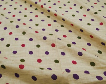 Beige Color Pure Cotton Sewing Fabric With Polka Dot Pattern Printed For Decorative Dress Crafting Material Fabric By The 1 Yard ZBC6011