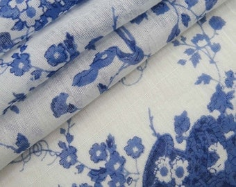 """Blue Floral Print Cotton Fabric 46"""" Wide Craft Dressmaking Material Apparel Sewing Fabric Cotton Sewing Supplies Fabric By 1 Yard ZBC8012A"""