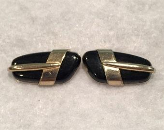 Swank Gold-tone Cuff Links with Black Stone - CA 1950's - Item #17