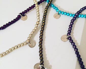 Personalised Miracle/illusion bead necklace large range of colours with either a large/small or stamped heart charm