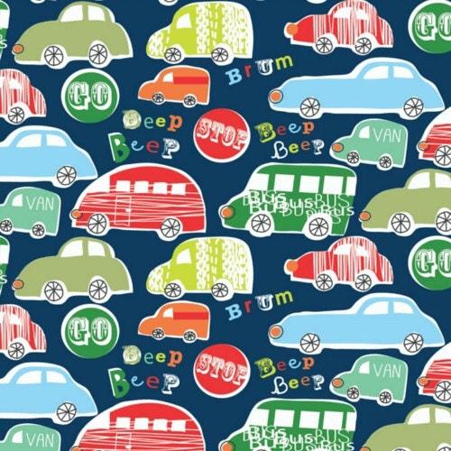 Fabric Roads For Toy Cars : Navy car fabric dashwood studios beep cotton bus