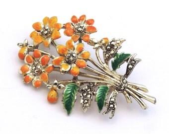 Exquisite Flower Brooch, Bouquet Orange / Yellow Flowers, Faux Marcasite Pin
