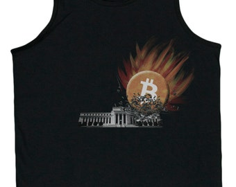 Men's Bitcoin Smashes The Federal Reserve Tank Top
