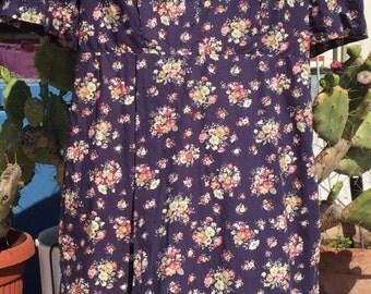 1950s Vintage floral dress//romantic dress//50//vintage dress