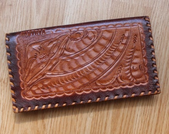 Vintage Carved Handbag Real Leather Boho Handmade Purse