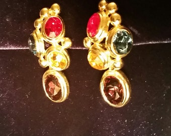 Clip on earrings, gold with multi colored stones