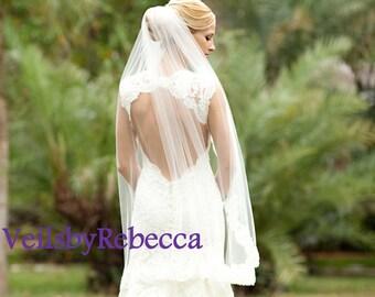 Lace fingertip veil,lace wedding veil, fingertip lace wedding veil, lace veil fingertip,fingertip veil-1 tier short lace bridal veil V617