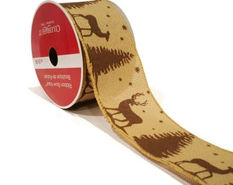 Christmas, Woods and Cabin Beige and Brown Reindeer and Pine Tree Wired Ribbon