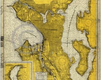 1966 Mid Century Stylized Map Elliott Bay Seattle Lake Washington Puget Sound