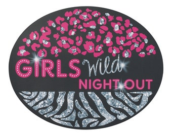 """Bachelorette Party """"Girls Wild Night Out"""" Repositionable Cling, Ring-shaped design."""